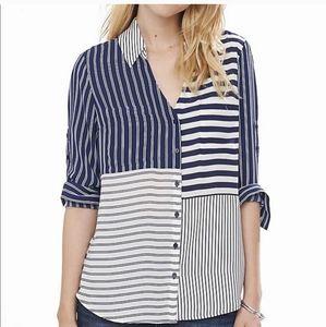 S Express The Portofino Blue Striped Career Top